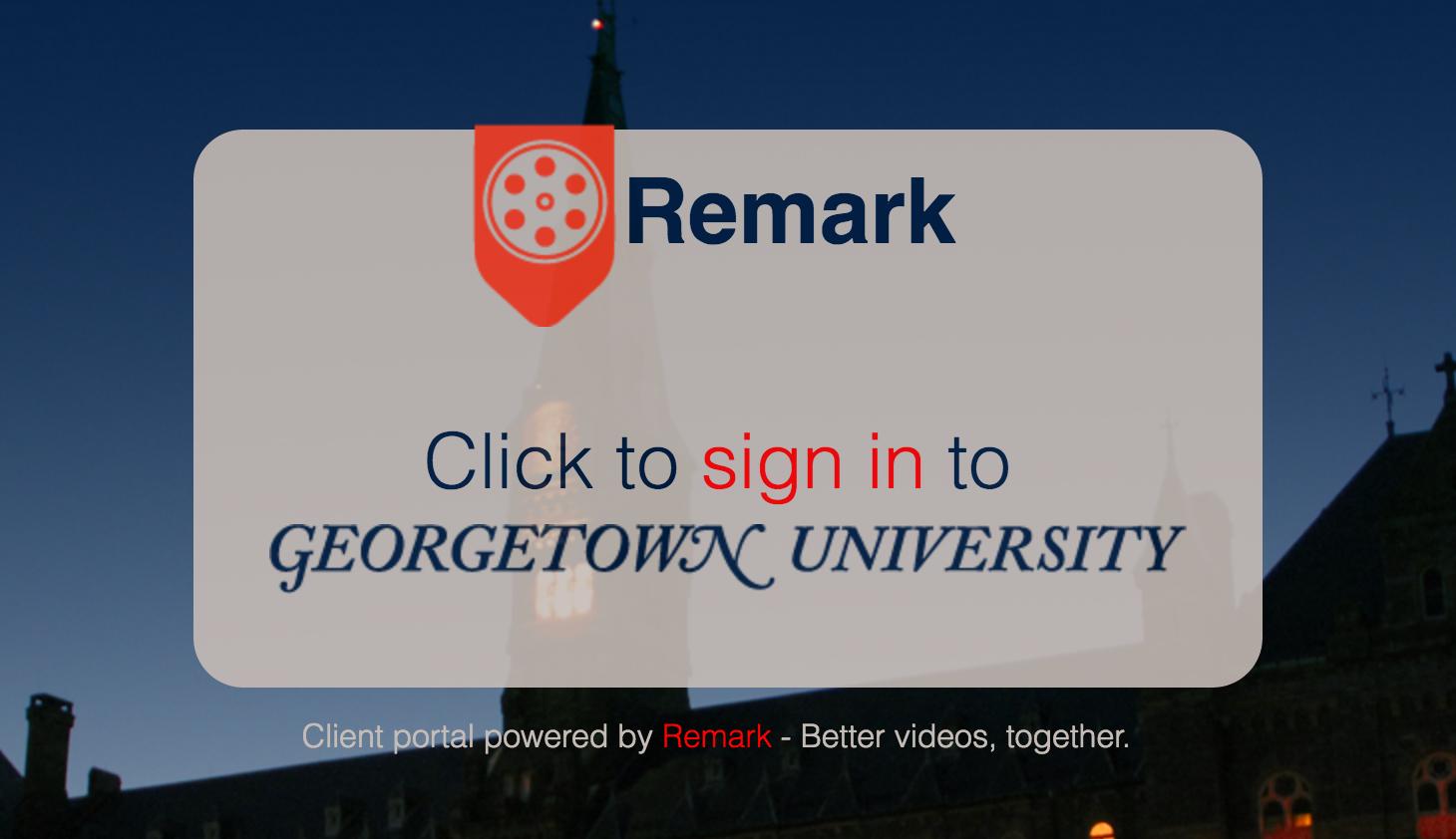 Logging in to remark.georgetown.edu